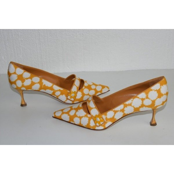 ハイヒール マノロブラニク MANOLO BLAHNIK BB Heels PUMPS MARY JANE Orange White Canvas Leather Shoes 41