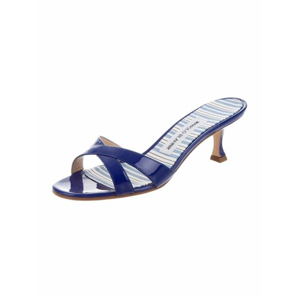 ハイヒール マノロブラニク  Manolo Blahnik CALLAMU Blue Patent Leather Kitten Heel Sandals Shoes 37.5