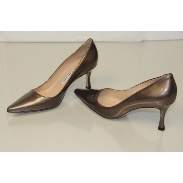 ハイヒール マノロブラニク Manolo Blahnik BB 90 newcio Brown Pearly Patent Leather Shoes Pumps Heels 37