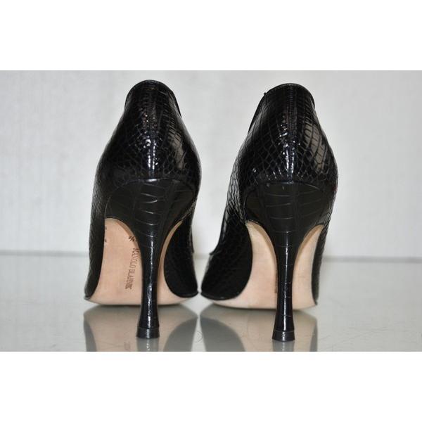 ハイヒール マノロブラニク MANOLO BLAHNIK Black Alligator Crocodile Pumps BB Heels Shoes 36.5