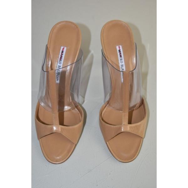 ハイヒール マノロブラニク Manolo Blahnik Sandals PVC Sandals Patent Leather Beige Brown Slide Shoes 39