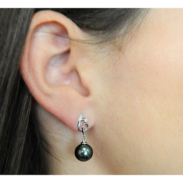 パール ラディエンスパール Radiance Pearl 14k Gold Tahitian South Sea Pearl Diamond Accent Earrings (10-11
