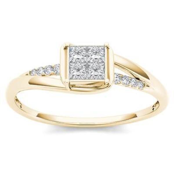 婚約指輪 ドクール De Couer 10k Yellow Gold 1/4ct TDW Diamond Bypass Engagement Ring