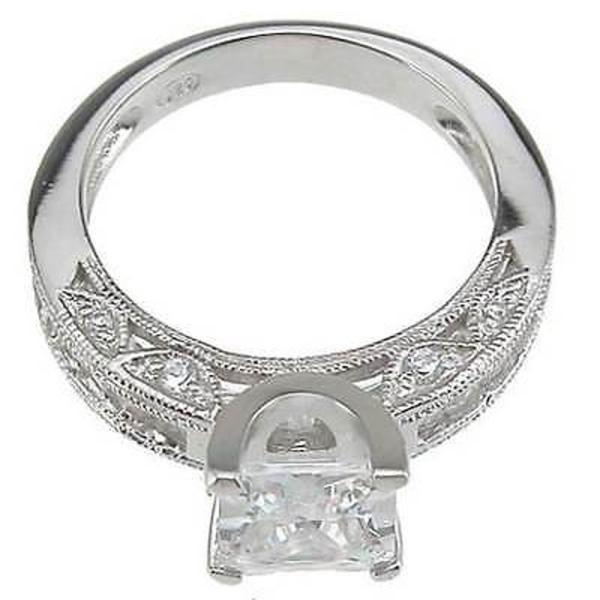 アンブランデッド Rhodium Finish Sterling Silver Cubic Zirconia Princess Channel Wedding Ring