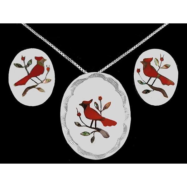 ネックレス ペンダント 海外セレクション Navajo ペンダント イヤリング Coral Cardinal レッド Bird Inlay スターリング シルバー インディアン