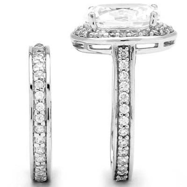 CZ モアッサナイト 模擬 パームビーチジュエリー 6.47 TCW Oval-Cut Cubic Zirconia Two-Piece Halo Bridal Set in Platinum over