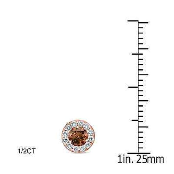 ダイヤモンド 海外セレクション Auriya 14k Rose Gold 1/2ct to 2ct TDW Brown Diamond Stud Earrings