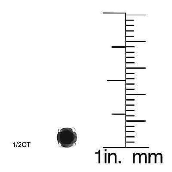 14K Yellow Gold Created Round Black Diamond Push Back Stud Earrings 3-8mm