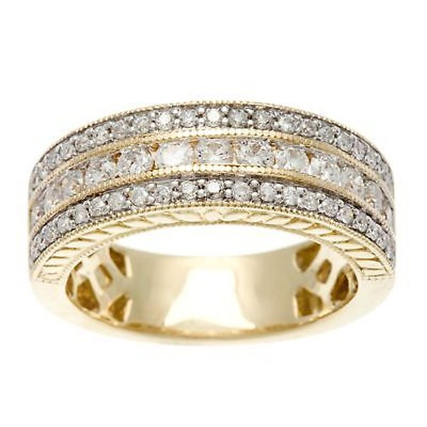 ダイヤモンド 宝石 ソフィア Sofia 14k Yellow Gold 1ct TDW IGL Certified Round Multi Row Diamond Band