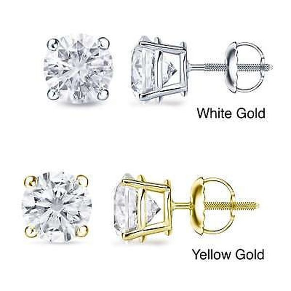 アーリヤ ダイヤモンド Auriya 18k Gold 1 to 2ct TDW Certified Diamond Stud Earrings