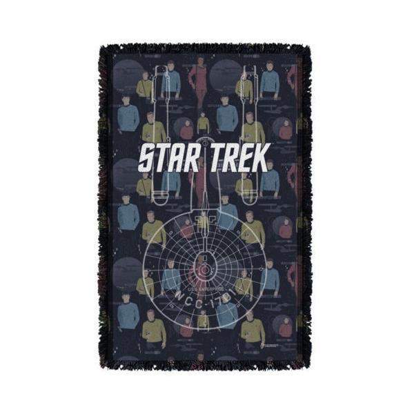 """スタートレック アフガン スロー ブランケット ソファー Star Trek クラシック Enterprise Crew ライセンス ブランケット 36"""" X 60"""""""