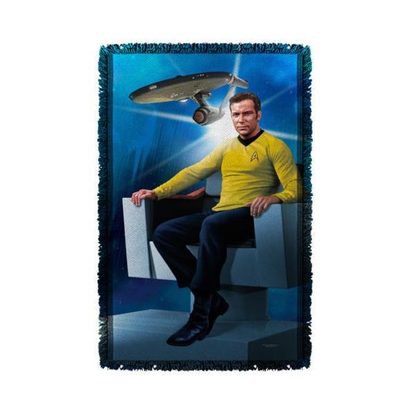 """スタートレック アフガン スロー ブランケット ソファー Star Trek クラシック Captain Kirk チェア ライセンス ブランケット 36"""" X 60"""""""