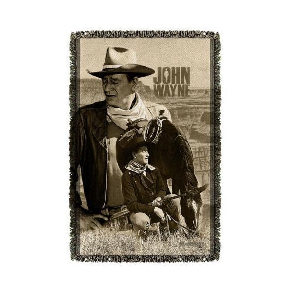 """ジョン ウェイン アフガン スロー ブランケット ソファー John Wayne Stoic Cowboy ライセンス ブランケット 36"""" X 60"""""""