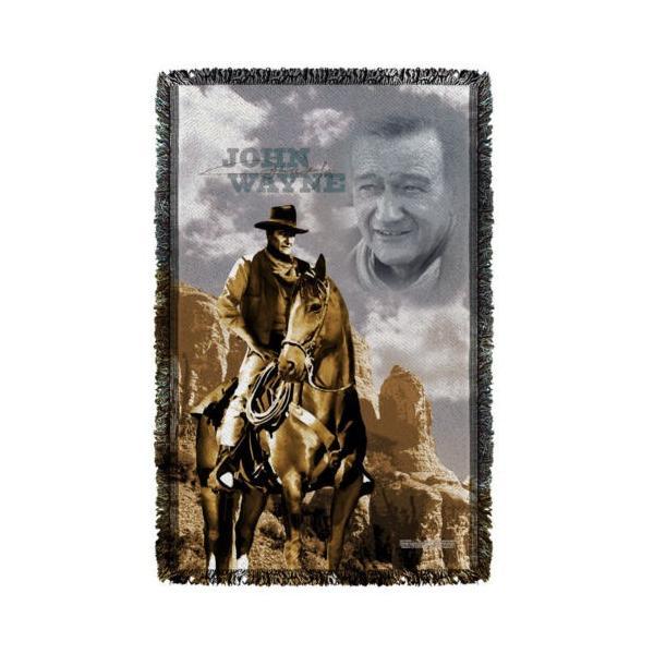 """ジョン ウェイン アフガン スロー ブランケット ソファー John Wayne Ride Em Cowboy ライセンス ブランケット 36"""" X 60"""""""
