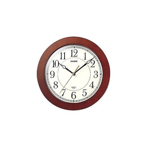 カシオ Wall Clocks  Casio  IQ126-5D ラウンド Wood フレーム ホワイト フェイス Easy to Read Wall No Ticking 時計