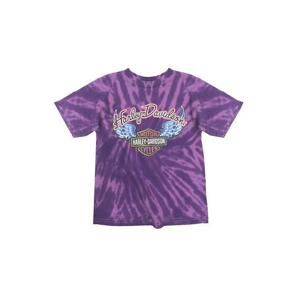 Harley-Davidson Little Girls/' Glitter Wings Swirl Tie-Dye Tee Purple 1520731