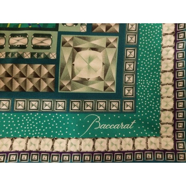 スカーフ ラップ バカラ Baccarat Scarf Silk NEW Louxor Twill GREEN white 39x39 inch 2809963 Mint in Box