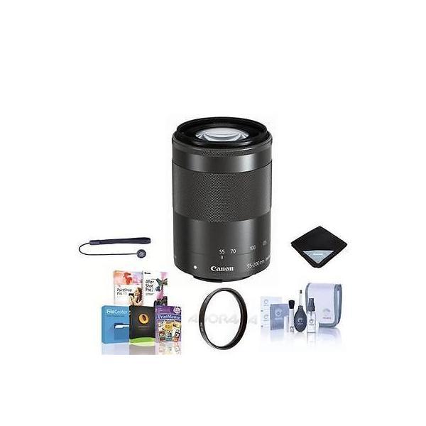 カメラ 写真 レンズ フィルター レンズCanon EF-M 55 200mm f/4.5-6.3 IS STM Lens - Black With Free Accessory Bundle