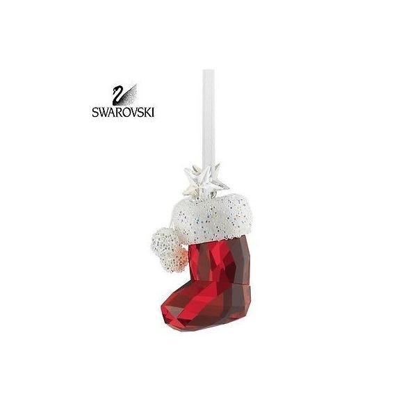海外セレクション オーナメント 80 スワロフスキ クリスタル クリスマス Figurine オーナメント SANTA'S STOCKING #5119876