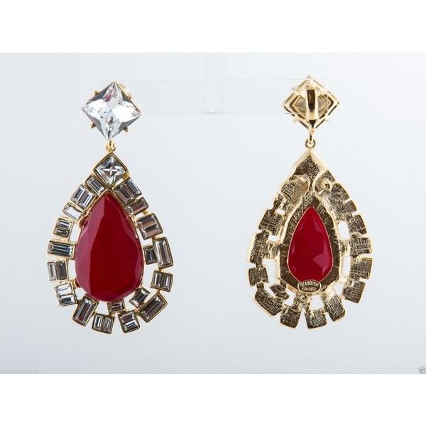 イヤリング ケネスジェイレーン Kenneth Jay Lane Red Opal  Crystal Clip Earrings