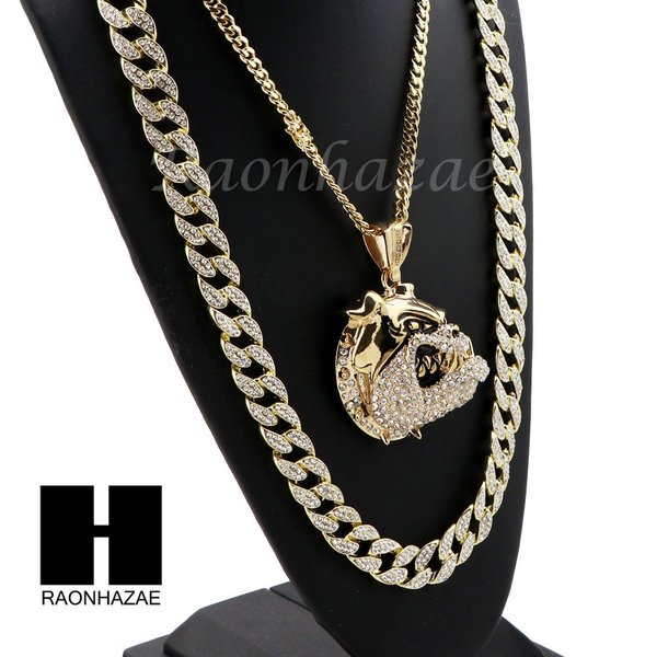 ICED OUT BULL DOG PENDANT 6mm CUBAN//12mm ICED OUT CUBAN CHAIN NECKLACE SET S37