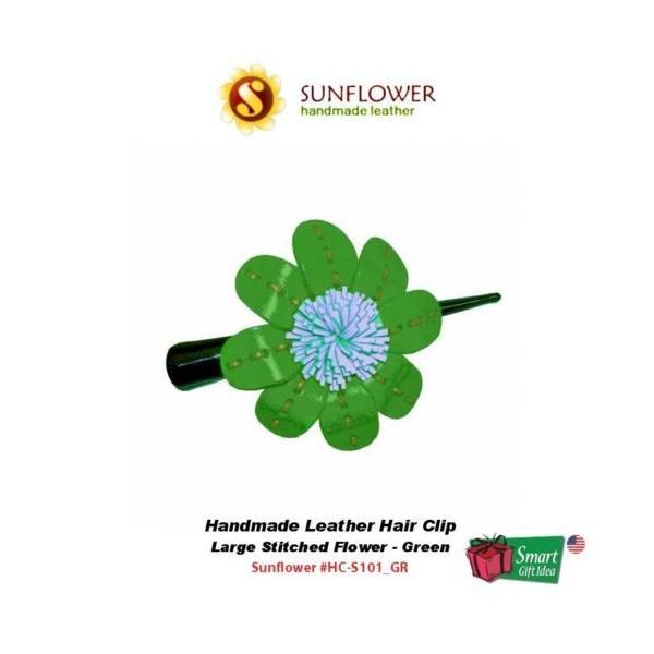 ヘアアクセサリー サンフラワー Sunflower ハンドメイド レザー Hair クリップStitched フラワーラージグリーン #HC-S101_GR