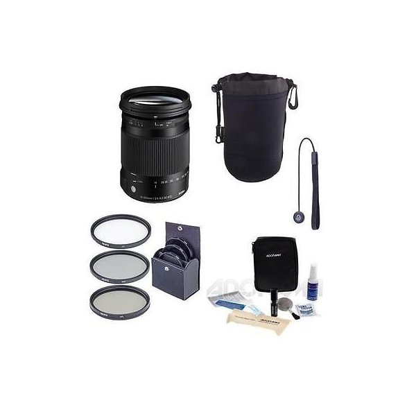 カメラ 写真 レンズ フィルター レンズ Sigma 18-300mm F3.5-6.3 DC Macro OS HSM Lens for Canon EOS W/Accessory Bundle