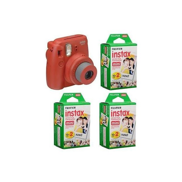 カメラ 写真 フィルム写真 フィルムカメラFujiFilm Instax Mini 8 Camera Rasberry W 3x Film Packs  Accessory Bundle