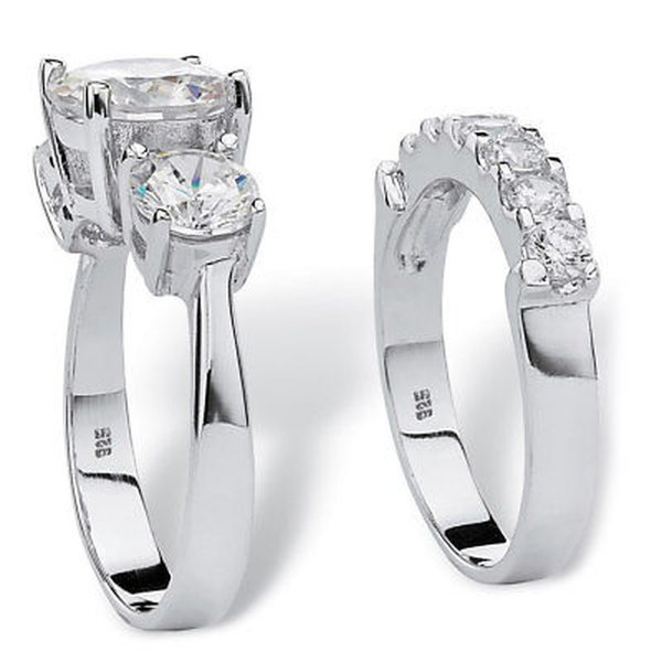 CZ モアッサナイト 模擬 パームビーチジュエリー 2 Piece 5.50 TCW Round Cubic Zirconia Bridal Ring Set in Platinum over Sterling