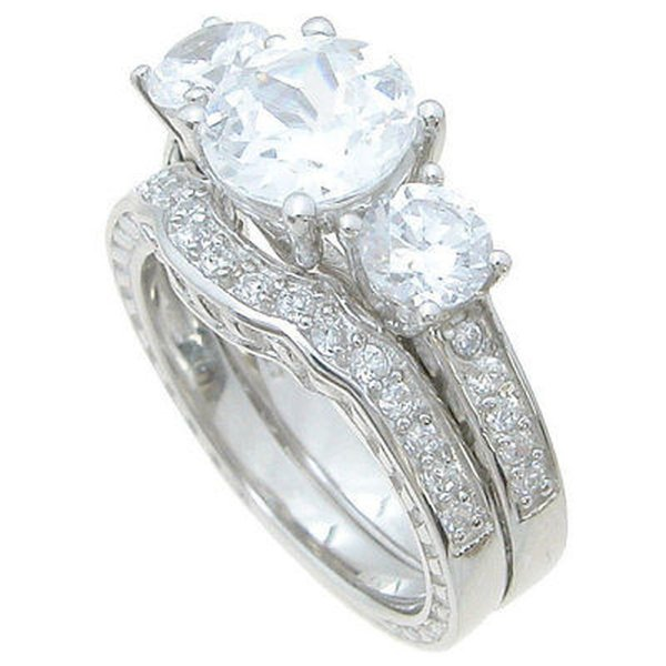CZ モアッサナイト 模擬 アンブランディッド Sterling Silver High Polish Round Cut CZ 3.5 TCW Antique Style Three Stone