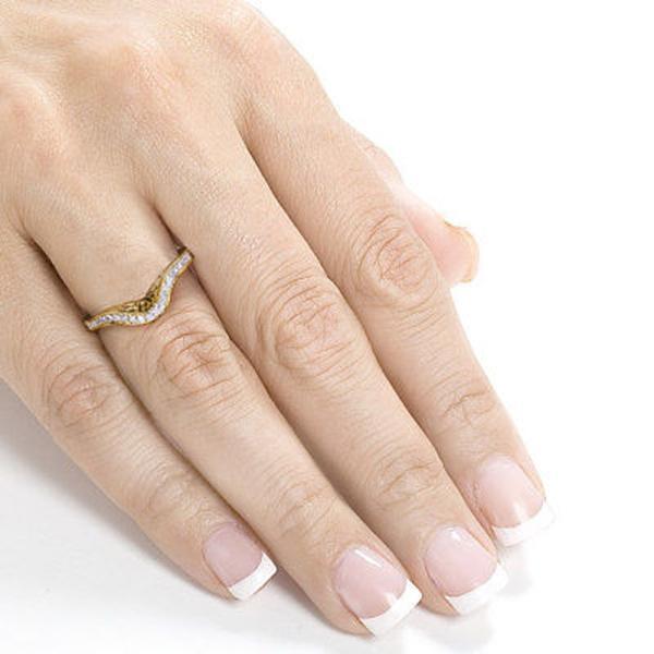 ダイヤモンド 宝石 アネロ Annello by Kobelli 14k Yellow Gold 1/8ct TDW Ladies Contoured Diamond Wedding