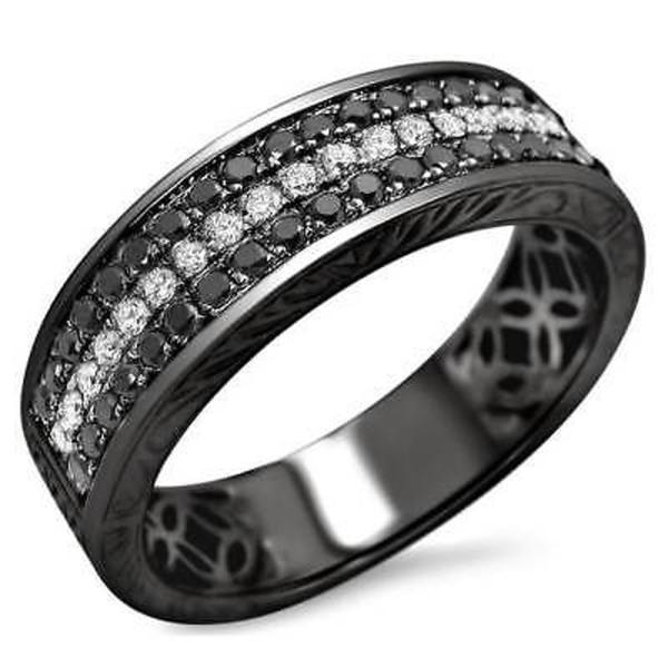 結婚式 アニバーサリーバンド 海外セレクション Noori 14k Black Gold Men's 5/8ct TDW Round Diamond Wedding Band