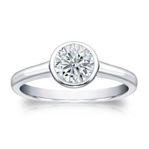 婚約指輪 海外セレクション Auriya Platinum 3/4ct TDW Round-cut Diamond Bezel Solitaire Engagement Ring