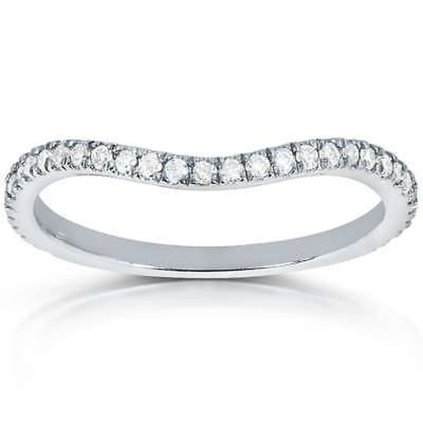 アネロ Annello by Kobelli 14k White Gold 1/5ct TDW Curved Diamond Wedding Band Ring