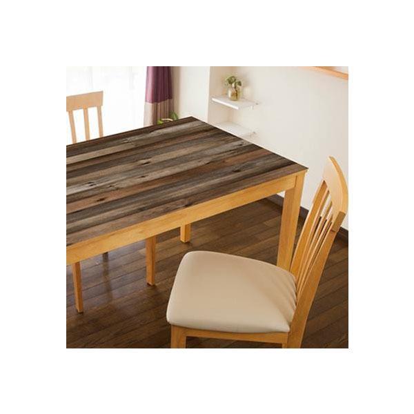 l返品不可lTABLECLOTH DECORATION テーブルデコレーション 貼る!テーブルシート 90cm×150cm オールドウッド DBR・ダークブラウン
