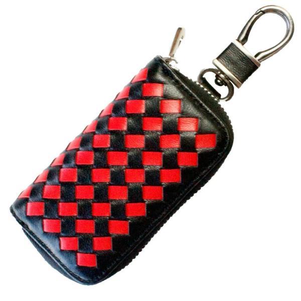 l返品不可lAWESOME(オーサム) スマートキーケース(クロスシリーズ) ブラック×レッド ASK-MS008