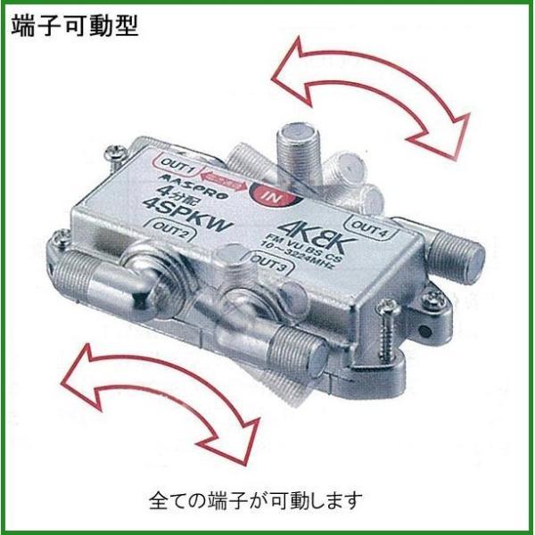 送料無料|マスプロ電工 BS・CS・4K8K放送対応 端子可動型4分配器 4SPKW|b03