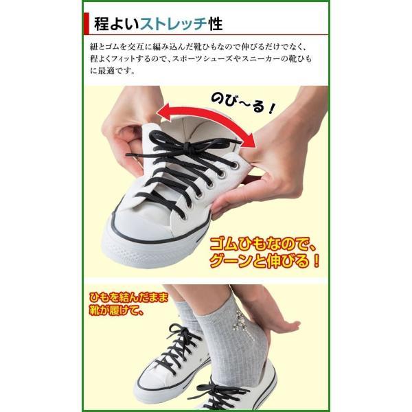 全国送料無料|のびてフィットする靴ひも 白×2|b03
