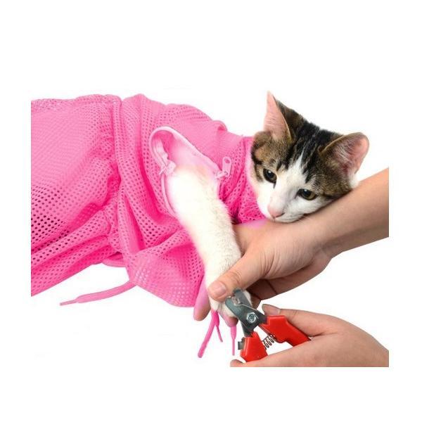 猫用 みのむし袋 おちつくネット シャンプー お風呂 爪切り 耳掃除 グルーミング 暴れない panni123 02