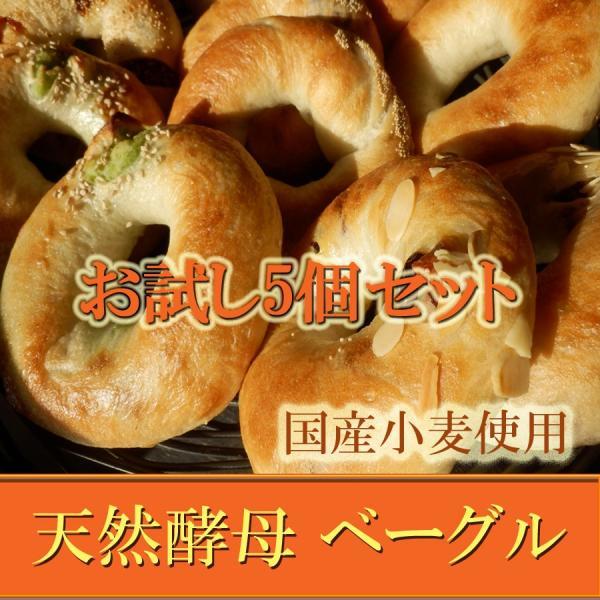 ベーグル お試し 5個セット 国産小麦 天然酵母パン