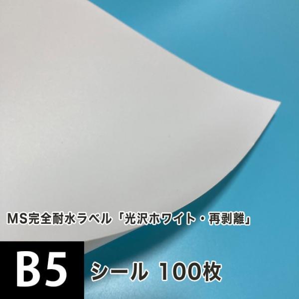 MS完全耐水ラベル 「光沢ホワイト・再剥離」 B5サイズ:100枚 印刷紙 印刷用紙 松本洋紙店 敬老の日