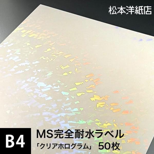 MS完全耐水ラベル 「クリアホログラム」 B4サイズ:50枚 印刷紙 印刷用紙 松本洋紙店