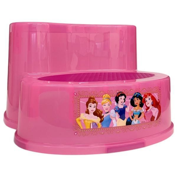 子供 2段 ステップ ディズニー プリンセス ピンク 滑り止め付き 女の子 踏み台 キャラクター ステップスツール