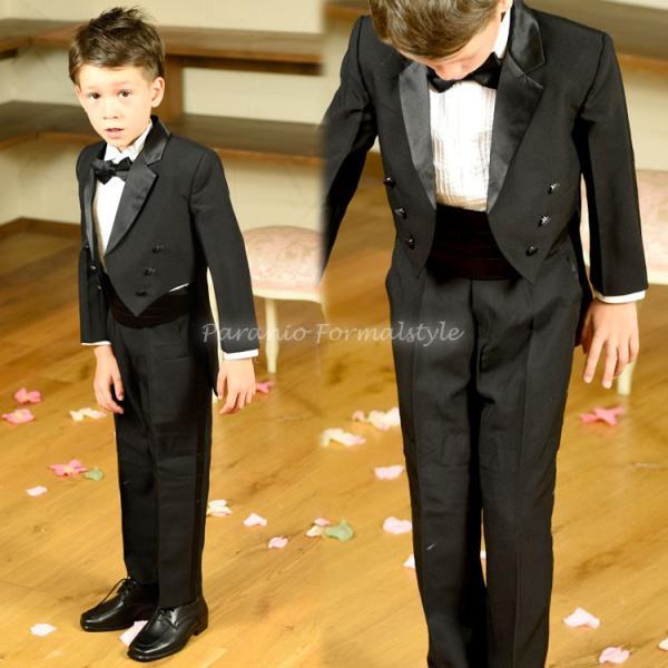 タキシード 子供 男の子 60-130cm ブラック 黒 フォーマル タキシード|paranino-formalstyle|03