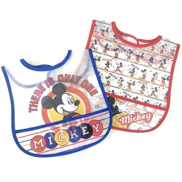 ポケット付き 防水食事用エプロン ディズニー ミッキーマウス 2枚入り Cudlie