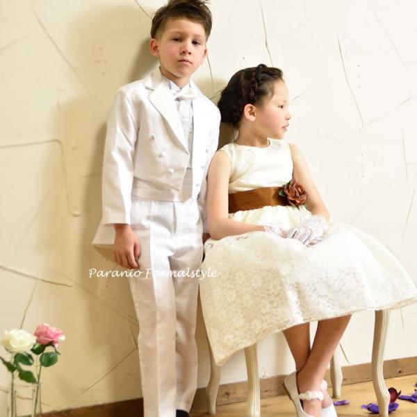タキシード 子供 男の子 130-160cm ホワイト 白 フォーマル タキシード|paranino-formalstyle|02