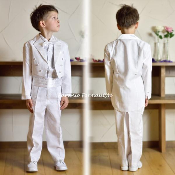 タキシード 子供 男の子 130-160cm ホワイト 白 フォーマル タキシード|paranino-formalstyle|03