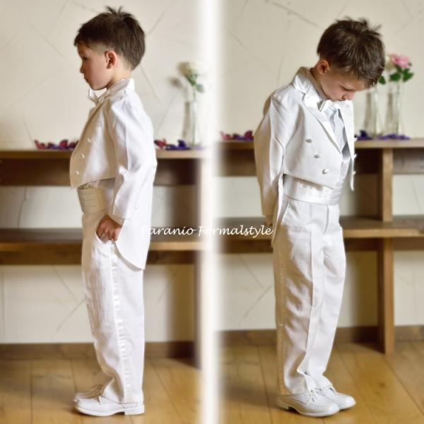 タキシード 子供 男の子 130-160cm ホワイト 白 フォーマル タキシード|paranino-formalstyle|04