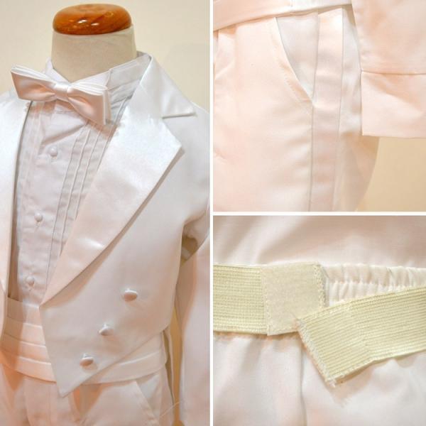 タキシード 子供 男の子 130-160cm ホワイト 白 フォーマル タキシード|paranino-formalstyle|06