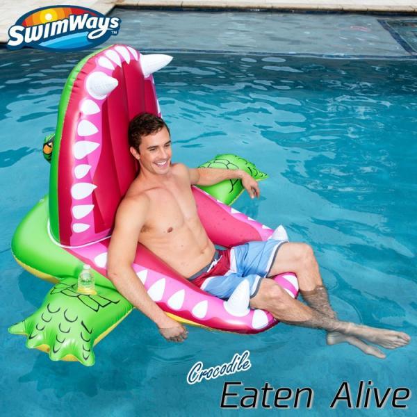 ポイント5倍/ 浮き輪 大人 フロート ワニ 5歳から 子供 大きい浮き輪  背もたれ付き 座れる浮き輪 SwimWays|paranino